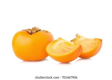 persimmon fruit ripe fresh isolated on white background.