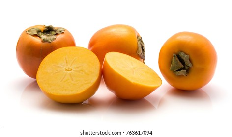 Persimmon Kaki isolated on white background three whole one cut in half