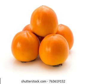 Persimmon Kaki isolated on white background five orange