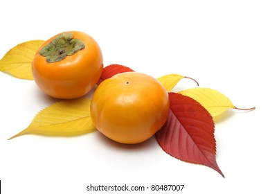 Persimmons and colorful leaves