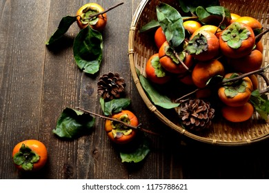 Persimmons on the bamboo basket
