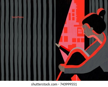 Person with anxiety attack. Conceptual and colouful illustration showing a person with social anxiety and feeling embarrassed in situations or social activities,