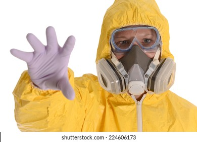 Person in Biohazard Suit reaching out for you