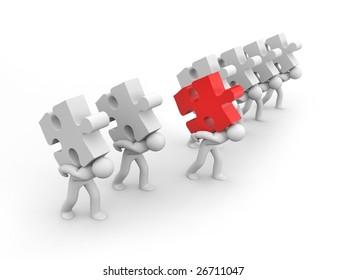 Person carry puzzle. Business concept