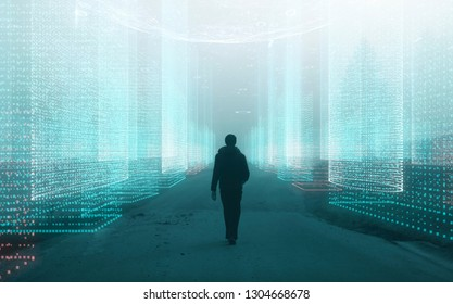 Person and computer cyberspace network with artistic sphere background.