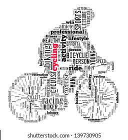 person cycling info-text graphics and arrangement concept (word cloud)