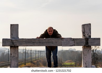 The person in dead-end siding. The man at the deadlock. Concept Impasse.  male before the cul-de-sac. end the deadlock, to find a way out of the impasse
