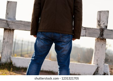 The person in dead-end siding. The man at the deadlock. Concept Impasse. to be at a blind alley. male before the deadlock
