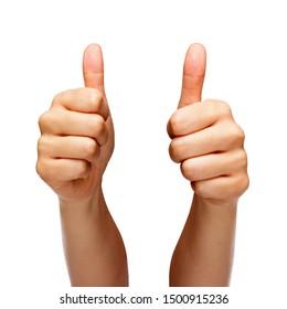 Person, die sich mit beiden Händen aufhält, einzeln auf weißem Hintergrund