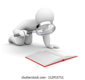 Person examines book
