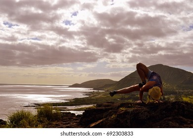 Person exercise on rock