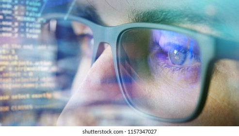 person with futuristic technology. concept of virtual communication and world of connections with the multimedia of the future, in medicine and virtual communication.