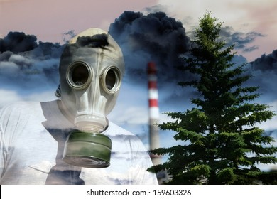 Person in a gas mask against a poisonous cloud going from a pipe