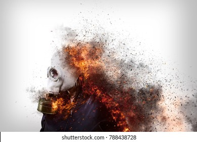 Person with gas mask and destructive fire, pollution and climate change
