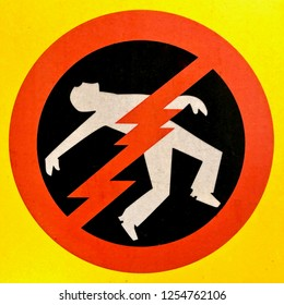 Person getting electrocuted sign