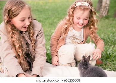 person, girl, rabbit, animal, outside, pet, cute, caucasian, sis