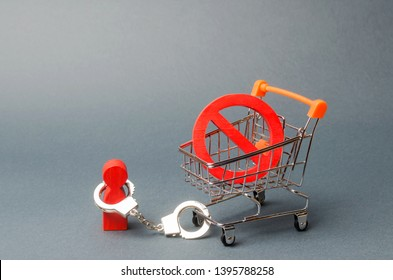 person is handcuffed to a symbol NO on a supermarket cart. A person is limited by laws, rules and traditions. Censorship and harassment of dissent. Respect for human rights. Bypass restrictions.