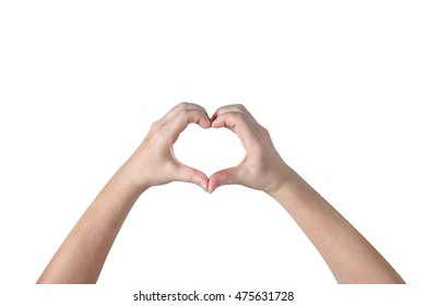 person hands making a heart shape isolated on white background,clipping path