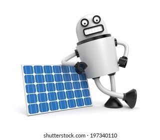 Person hold solar panel