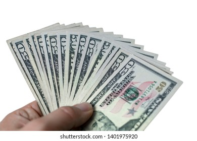 person holding american dollar in hand and white background