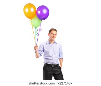 A person holding balloons isolated against white background