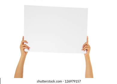 Person holding blank white sign. All on white background.