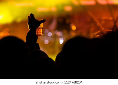 Person holding up a drink at a concert