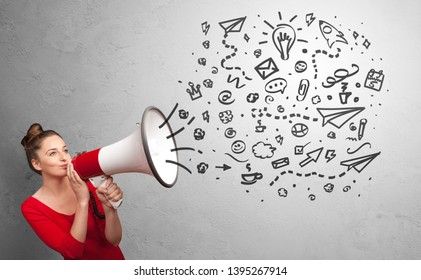 Person holding megaphone and yelling ideas concept