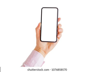 Person holding phone in hand with empty white screen. Mobile app mockup.