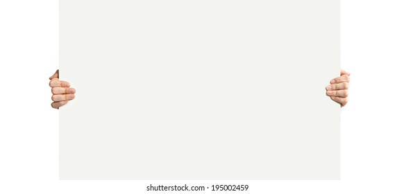 person holding placard over white background