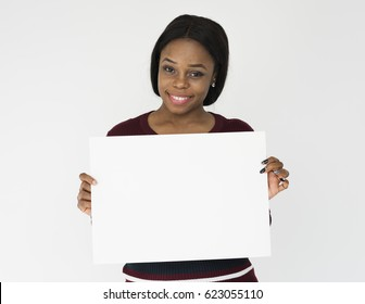 Person Holding Placard Studio Concept