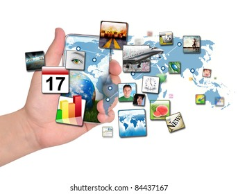 A person is holding a smart phone isolated with a map of the Earth and various apps coming out of the phone. Use it for a communication concept.