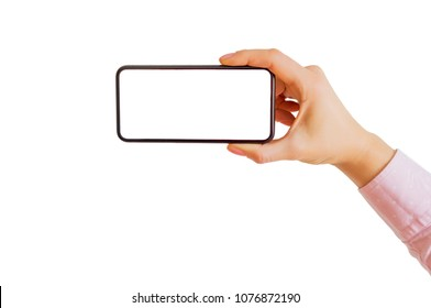 Person holding smartphone horizontally in one hand. Mobile app mockup.