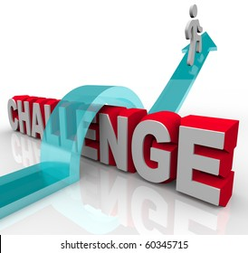 A person jumps over a challenge, riding an arrow to success