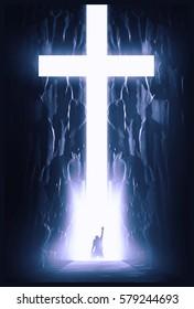 Person kneeling in front of cross