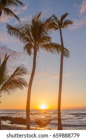 person laying in hammock between two silhouetted palm trees on Hawaiian beach at sunset. Two large palm trees frame hammock with sun setting in distance. Orange, yellow and pink hues