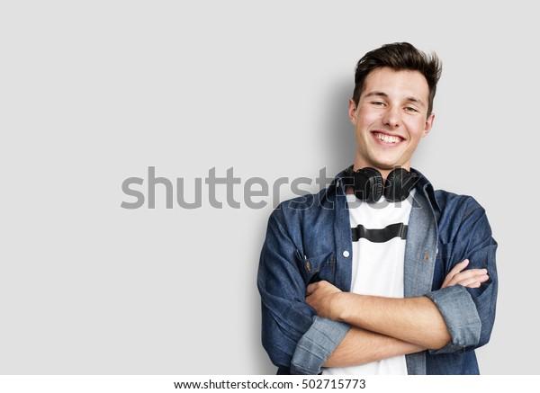 Person Listening Music Headphones Concept