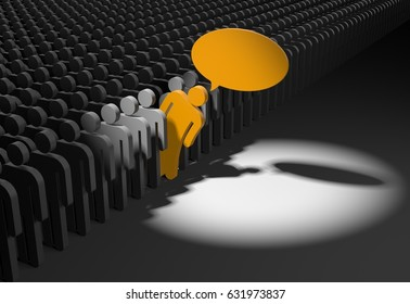 Person looks out from the crowd. 3d illustration