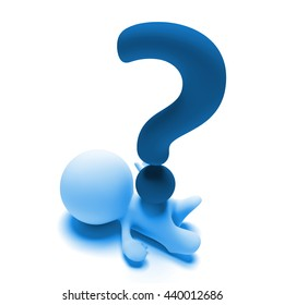 person lying under a huge blue question mark (3d illustration)