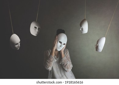 person with mask does not want to hear the judgment of other masks, concept of judgment and introspection