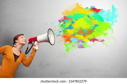 Person with megaphone and colorful splashes