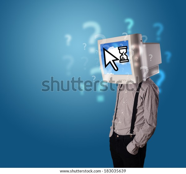 Person with a monitor head and cloud based technology on the screen, blue background