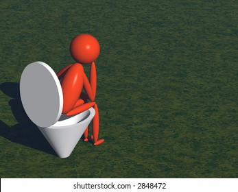 person on lavatory pan (3d render)