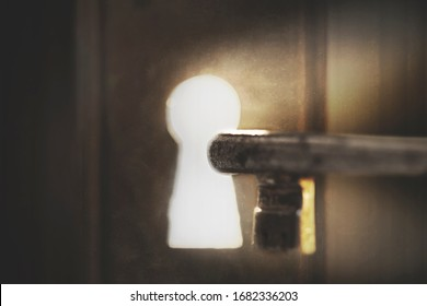 person opens the door with a key, concept of freedom and success