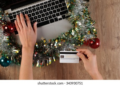 Person is ordering online via credit card