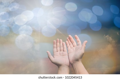 person palm hands to hold holy cross, crucifix to worship. christian in catholic eucharist bless god ceremony. people and religion concept. image for sign and symbol, background, objects