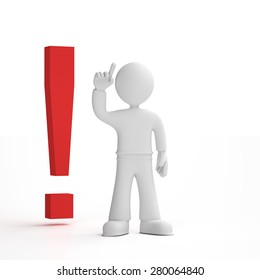 Person pointing his finger in the air next to an exclamation mark, white background, 3D render