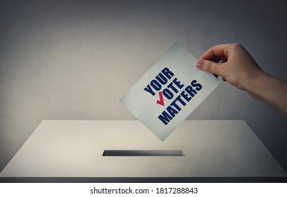 Person at the polling station holding a ballot paper in his hand with the message your vote matters. People legal and democratic rights, every voice counts. Election campaign and electoral agitation.