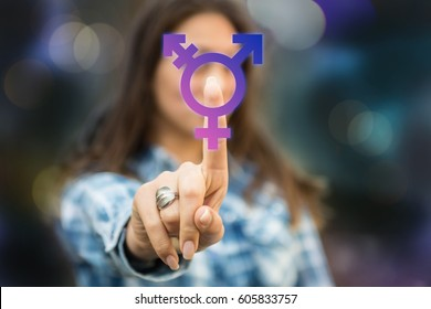Person pressing transgender symbol on touch screen. LGBT rights concept. Transgender person coming forward about sexuality orientation.