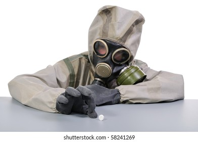 Person in protective suit and pill.